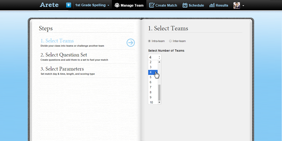 Select Intra-team page